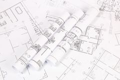 体系结构计划 工程学房子图画和图纸 免版税库存图片