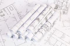 体系结构计划 工程学房子图画和图纸 免版税库存照片