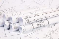 体系结构计划 工程学房子图画和图纸 图库摄影