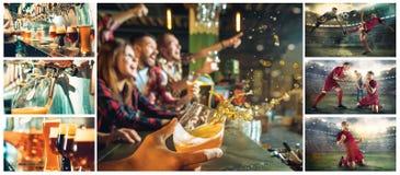 体育、人们、休闲、友谊和娱乐概念-喝啤酒的愉快的足球迷或男性朋友和 免版税库存图片