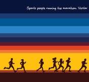 体育人连续马拉松剪影和日出天空 皇族释放例证