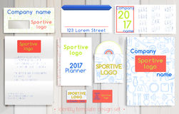 体育公司公司本体模板设计集合 免版税库存照片