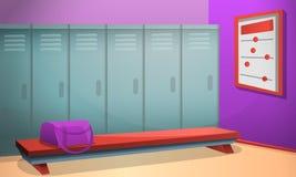 体育化装室概念横幅,动画片样式 皇族释放例证