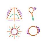 体育变薄线为网和机动性设置的象 平的设计 库存图片