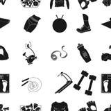 体育和健身仿造在黑样式的象 体育的大收藏和健身导航标志储蓄例证 免版税图库摄影