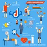 体育和健身infographics 库存图片
