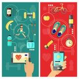 体育和医疗保健流动app概念垂直的横幅设置了与智能手机、各种各样的设备和饮食食物 皇族释放例证