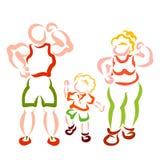 体育和幸福家庭、妈妈、爸爸和孩子 皇族释放例证