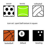 体育在方形的传染媒介例证的球纹理的汇集 库存照片