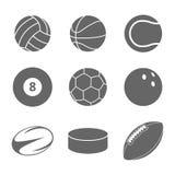体育在白色背景设置的球象 免版税图库摄影