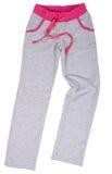 体育在白色隔绝的Sweatpants 免版税库存照片