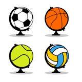 体育地球集合 在地球球形的球 篮球和橄榄球 库存图片