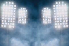 体育场光和烟 库存照片