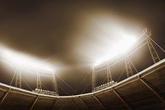 体育场光看法在晚上 库存照片