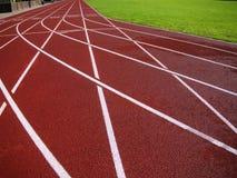 体育场的红色跑马场 图库摄影