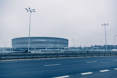 体育场,现代建筑学在弗罗茨瓦夫波兰 库存照片