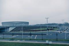 体育场,现代建筑学在弗罗茨瓦夫波兰 免版税库存照片