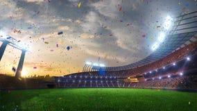 体育场移动的光,与人的生气蓬勃的闪光扇动 3d回报例证多云五彩纸屑和闪亮金属片 股票视频