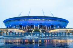 体育场Zenit竞技场的鸟瞰图,最昂贵地在世界上,在2018年世界杯足球赛 俄罗斯,圣彼德堡, 16 De 库存照片