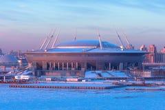 体育场Zenit竞技场的鸟瞰图,最昂贵地在世界上,在2018年世界杯足球赛 俄罗斯,圣彼德堡, 16 Ja 库存照片