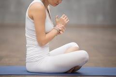 年轻体育妇女感觉腕子痛苦 库存照片