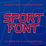 体育字母表向量字体 标签、标题、海报或者运动服的倾斜字体 皇族释放例证