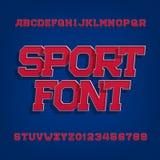 体育字母表向量字体 标签、标题、海报或者运动服的减速火箭的样式字体 库存例证