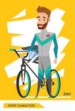 体育字符自行车车手球员传染媒介 图库摄影