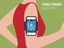 体育或健身连续人民的跟踪的app 免版税图库摄影