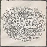 体育手字法和乱画元素 库存图片