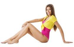 体育时尚妇女体操运动员衣裳,年轻性感的女孩,白色 免版税库存图片