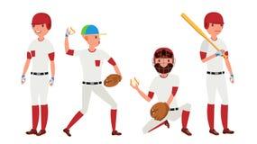 体育棒球运动员传染媒介 经典制服 在领域的球员投球 对体育场的动态行动 动画片 皇族释放例证