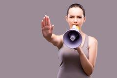 体育概念的妇女与扩音器 免版税库存图片