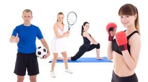 体育概念-运动的人用在白色隔绝的设备 免版税库存图片