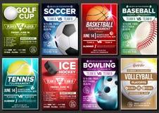 体育海报集合传染媒介 网球,篮球,足球,高尔夫球,棒球,冰球,滚保龄球 事件公告 钞票 向量例证