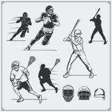 体育球员的例证 橄榄球、棒球和曲棍网兜球 皇族释放例证