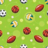 体育球无缝的样式 库存照片