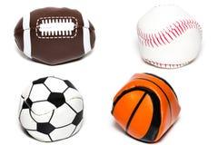 体育球的汇集与足球、橄榄球、棒球和ba的 免版税库存照片