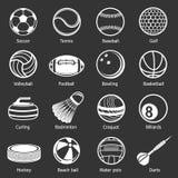 体育球设备象被设置的灰色传染媒介 免版税图库摄影
