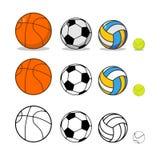 体育球集合 篮球和橄榄球 网球和排球 免版税库存照片