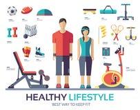 体育生活方式infographic设备设备 健身象概念 免版税库存图片