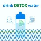体育用水装瓶 为和谐和健康浇灌用黄瓜饮料戒毒所水 在蓝色颜色的例证 库存例证