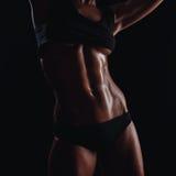 体育穿戴的健身妇女与完善的健身身体 库存照片