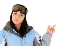 体育穿戴的妇女指向一个好主意的 免版税库存照片