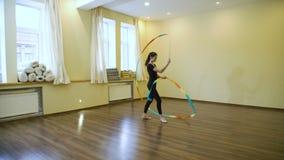 体育竞技体操运动员锻炼丝带训练 影视素材
