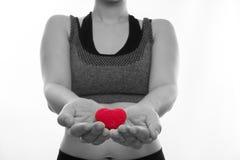 体育胸罩的亚洲人孕妇拿着红色心脏形状标志  库存图片