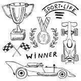 体育自动项目乱画元素 与旗子象的手拉的集合 方格或赛跑下垂第一个地方奖杯子 奖牌和rasin 库存图片