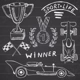 体育自动项目乱画元素 与旗子象的手拉的集合 方格或赛跑下垂第一个地方奖杯子 奖牌, rasing的c 库存图片