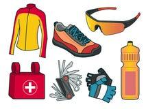 体育自行车设备的传染媒介例证 免版税库存照片