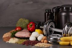 体育营养和健身设备 库存图片